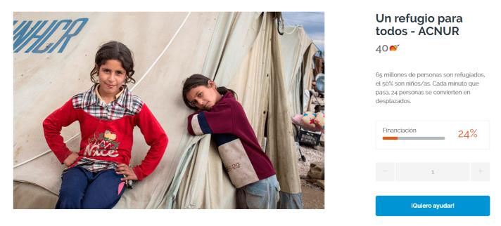 Donación un refugio para todos ACNUR